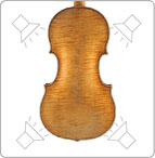 Correct lighting diagram for the back of a violin